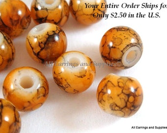36 Orange Glass Bead 6mm with Black Striation 36 pc - G6012-OBK36-AG