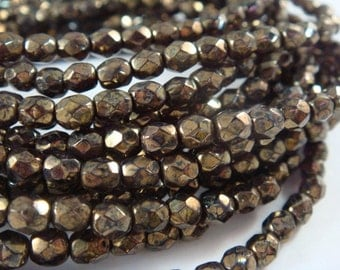50 Antique Bronze Picasso Czech Glass Bead 4mm Fire Polished Faceted Round - 50 pc - G6038-ABP50