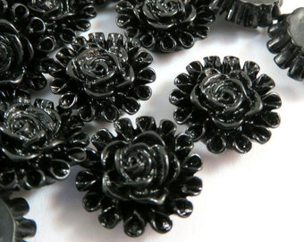 SALE - 25 Black Flower Cabochon Beads Resin 13mm - No Holes - 25 pc - CA2012-BK25