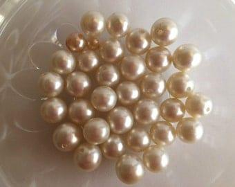 Creamy Neutral Glass Pearl Beads, Bead Destash
