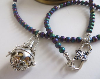 Titanium Druzy Necklace With Balinese Chime Ball Pendant