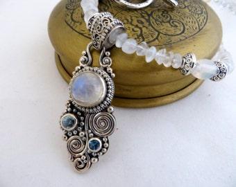 Moonstone Necklace With Rainbow Moonstone & Blue Topaz Pendant