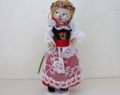 Handmade Felt Art Doll Polish Girl in Traditional Clothes
