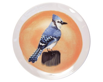 Porcelain wall plate with the Blue Jay - made to order