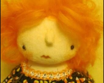 Halloween girl doll candy corn decor black low brow art Whimsical goth primitive creepy cute country  decor Farm Quirky hafair ofg team