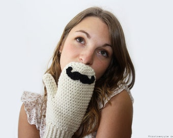 CROCHET PATTERN - Mustache Mitts - Instant Download (PDF)