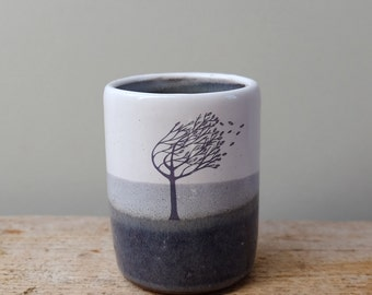 Simple Blue and White Windy Tree Cup