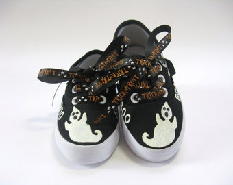 Girls Halloween Ghost Shoes, Halloween Party or Ghost Costume, Hand Painted Black Sneakers for Baby and Toddler