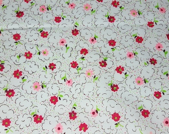 SALE vintage 80s pink, red and green bright small floral print, 1 yard, 3 available priced PER YARD