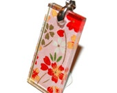 Rectangle Glass Pendant: Red Flowers on Pink - Glass Tile Pendant - Hand Drilled with Silver Bail - Black Ribbon Necklace