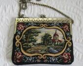 walborg bag .  vintage tapestry bag . church bag . tapestry purse  . bucolic tapestry purse . tapestry clutch . bucolic purse .