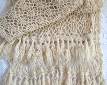 Cream Lace Stole . Cream Crochet Wrap . Crochet  Lace Stole with Fringes . crochet shawl . lace shawl