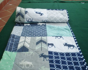 Baby quilt,Moose baby quilt,baby boy bedding,handmade crib quilt,woodland,rustic,mint,grey,navy,chevron,moose,arrow,chevron-Only Bullwinkle