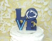 love wedding cake topper with logo penn state and villanova