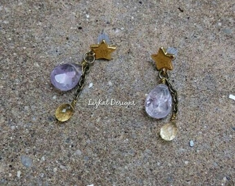 Star Earrings with Amethyst and Citrine