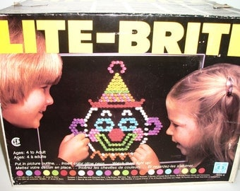 Vintage Hasbro Lite Brite Toy Coloured Pegs with 12 Picture Refills Mr. Potato Head and Black Refills