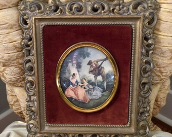 Beautiful Large Cameo Creations Portrait with Ornate Frame Molded Syroco L'amant Couronne by Jean Fragonard by