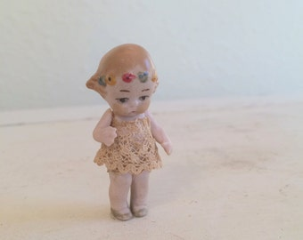 Miniature German Doll with Lace Dress