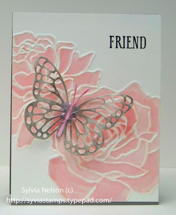 Pretty in Pink Greeting card...water colored roses...Beautiful gray butterfly...Breast Cancer Awareness card..Friend card...Engagement card!