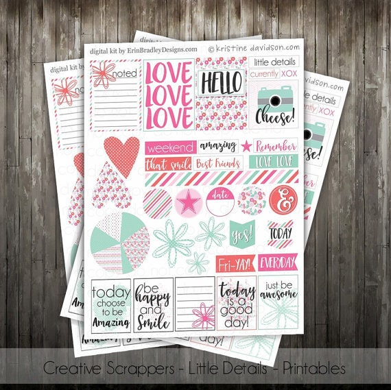 Little Details Printables - Planner Sticker Scrapbook Sheet PDF digital file