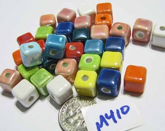Handmade Porcelain Cube MIXED COLOR PEARLIZED 9m Lot of 20  M410