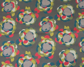 4210 - Retro Floral (Dark Gray) Cotton Canvas Fabric - 55 Inch (Width) x 1/2 Yard (Length)