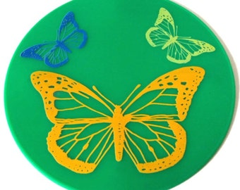 Green Butterfly Silicone Trivet Table Mat Table Decor KItchen Hot Pad Table Placemat