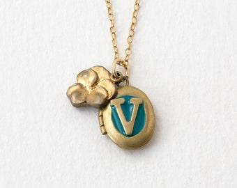 V Necklace - Initial V - Initial Necklace - Alphabet Necklace - Violet Necklace - Letter V Locket - Personalized Necklace - Monogram