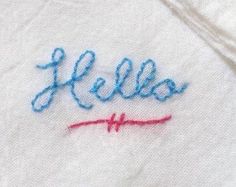 Hand Embroidered Handkerchief Hello