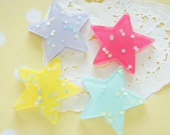 8 pcs  Holographic  Big Star Cabochon (35mm) Dark Pink Set  DR547 (((LAST)))
