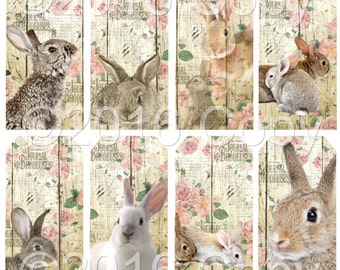Instant Download  - Bunny Tags - Hang Tags-   Digital Download - Printable  Digital Collage Sheet