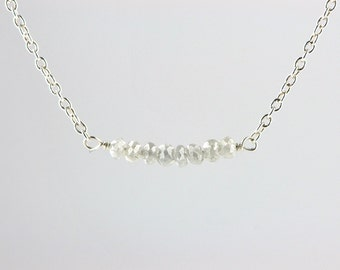 Grey Rustic Diamond Bead Bar Necklace in Silver 1 cm Length