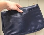Vintage Navy Blue Leather Clutch Handbag