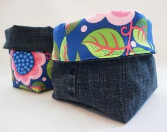 Fabric Organizer, Fabric Basket, Storage Basket: Floral on Blue