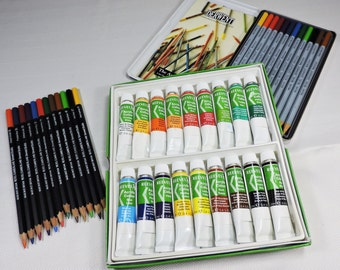 Art Supplies Derwent Watercolor Pencils, Colored Pencils, Reeves Acrylic Paint Gently Used