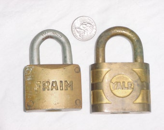 Lot 2 Brass Locks Yale Fraim Padlock Vintage Pin Tumbler