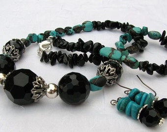 Agate and Turquoise Necklace and Earring Set
