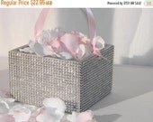 Flower Girl Basket + Silver Rhinestone wrapped wood Flower Girl Basket with ribbon Handle (6 x 6 x 4)