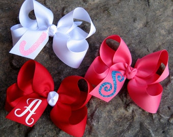 Custom GLITTER INITIAL Monogram Large Loopy Style Grosgrain Hair Bow - In Your Choice of Colors