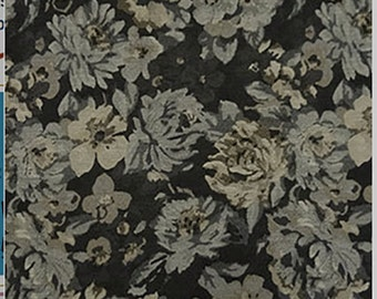 Charcoal Gray FLORAL JACQUARD Suiting Home Dec Fabric  - 1/4 Yard