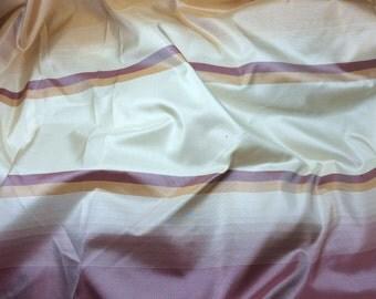 Plum & Peach Stripe Silk TAFFETA Fabric - 1 Yard