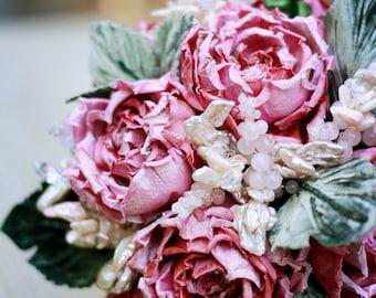 Wedding bouquet  - RASPBERRY ROSES  - Handmade silk flowers and semi precious gemstones