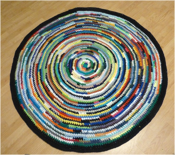 Reserved for Elinor Rag Rug Multi Color Round 56 inches