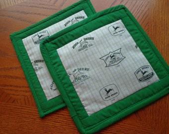 Green John Deere Hot Pads