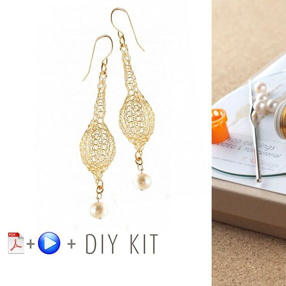 Crochet Pattern DIY kit - Wire Crochet Drop Earrings Pattern - DIY ...