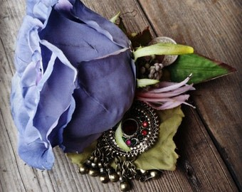 The Fabled Blue Rose - ATS or Tribal Fusion Belly Dance Hair Clip