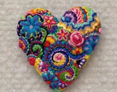 Freeform embroidery heart brooch  Brooch #148