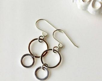 On SALE / CIJ Sale / Infinity Silver Earrings, Sterling Silver, Modern,