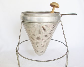 vintage juice fruit cone colander viko aluminum strainer with wood pestle reamer
