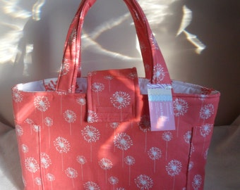 Large Coral Dandelion Diaper Bag Tote